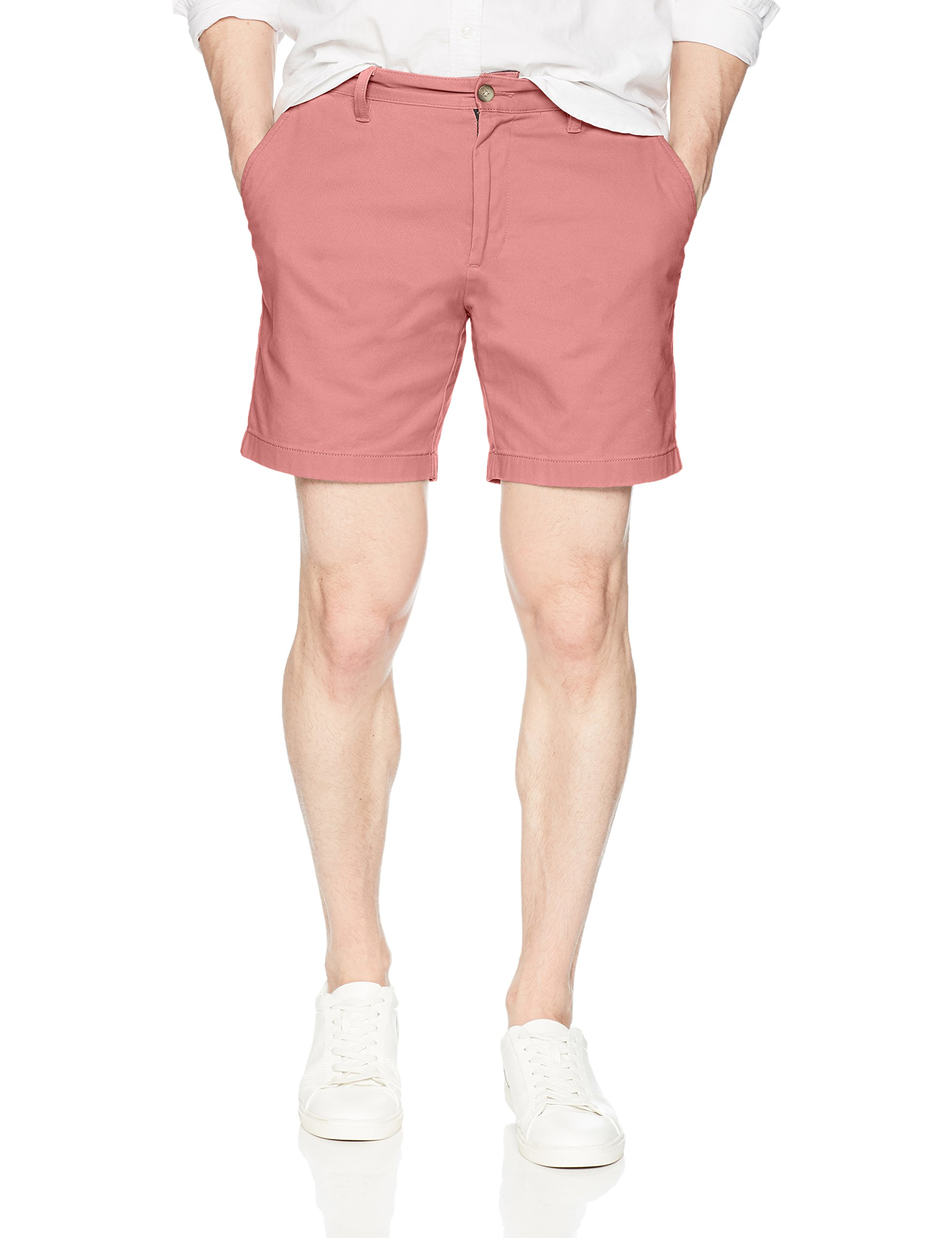 Nautica Men's Cotton Twill Flat Front Stretch Chino Short, Desert Carmine, 40W