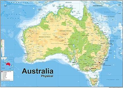 Australien Physikalische Karte Papier Laminiert A1 Grosse 59 4