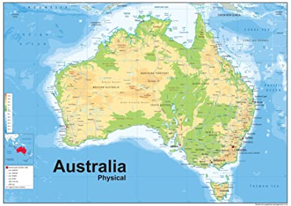 Australia Physical Map - Paper Laminated - A1 Size 59.4 x 84.1 cm