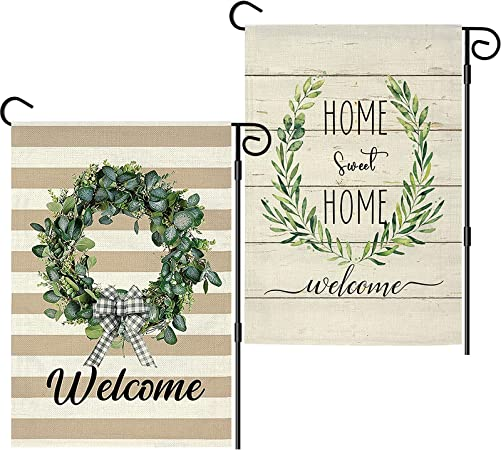 2 Pcs Garden Flags 12 x 18 Double Sided, Summer Garden Flags for Outside, Waterproof Burlap Small Yard Flags Banner for Farmhouse Yard Decoration