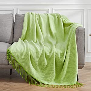 VEEYOO Green Throw Blanket for Couch, Green Striped Knit Throw Blanket with Tassels, Decorative Soft Knitted Blanket Throw 60x80 inch