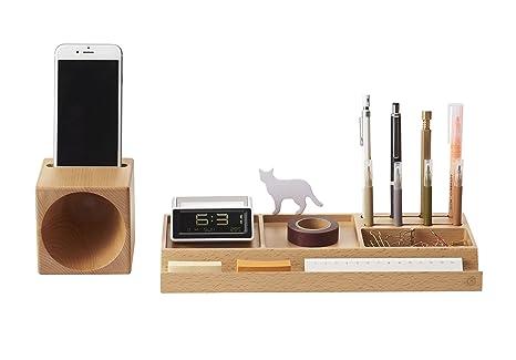 Set Ufficio Legno : Zens set organizzatore per scrivania in legno e multi funzionale