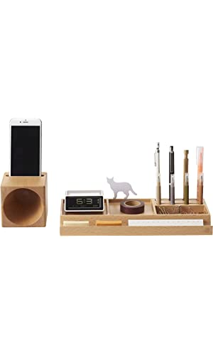 ZENS Wooden Desk Organizer with Expendable Phone Holder, Space Saver for Office Supplies, Pens Holder, Papers, Accessories Storage