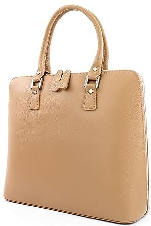 ital. Handtasche Arzttasche Damentasche Tragetasche Echt Leder Tasche F8040, Präzise Farbe:Beige modamoda de - Made in Italy