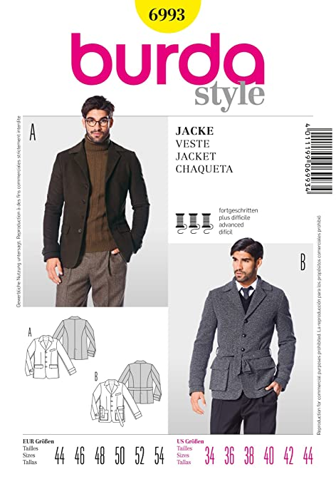 Burda Mens Sewing Pattern 6993 - Classic & Sporty Jackets Sizes: 44 ...