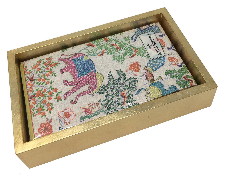 Caspari 3-Ply Paper Le Jardin De Mysore, 15 Count Guest Towel Napkins with Caspari Gold Lacquer Napkin Holder