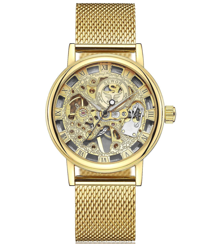 SEWOR Reloj para Hombre Hueca Tallado de Esqueleto mecánico Mano Viento Reloj de Pulsera con Banda de Malla