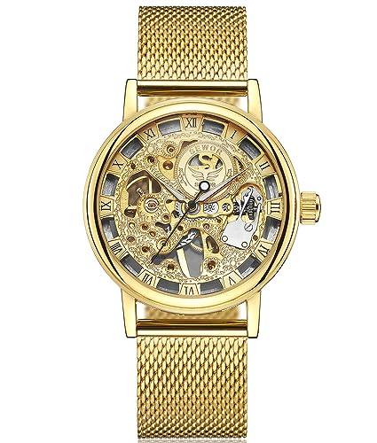 SEWOR reloj para hombre hueca tallado de esqueleto mecánico mano viento reloj de pulsera con banda