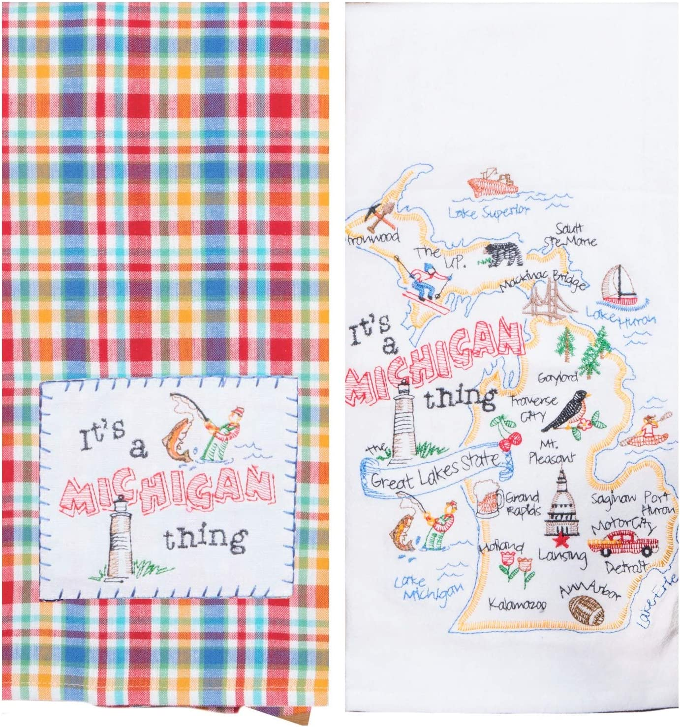 Kay Dee Designs Michigan Map Home State & Souvenir Embroidered Dish Towels, Bundle Set of 2 State of Michigan Kitchen Towels
