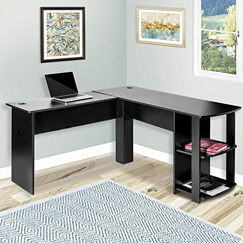 Merax L-Shapped Desk Office Storage Shelf PC Table Workstation Writing Table Maximize office space Black