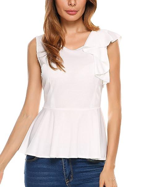 Amazon.com: Meaneor blusa de vestir sin mangas con volados ...