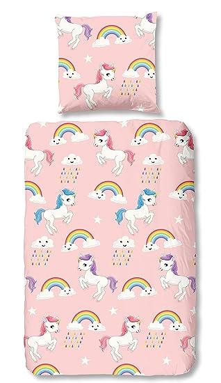 Aminata Kids Pferde Biber Bettwäsche 135 X 200 Cm Mädchen Rosa