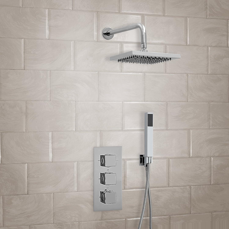 ENKI Miscelatore termostatico incasso doccia quadrato parete soffione doccetta