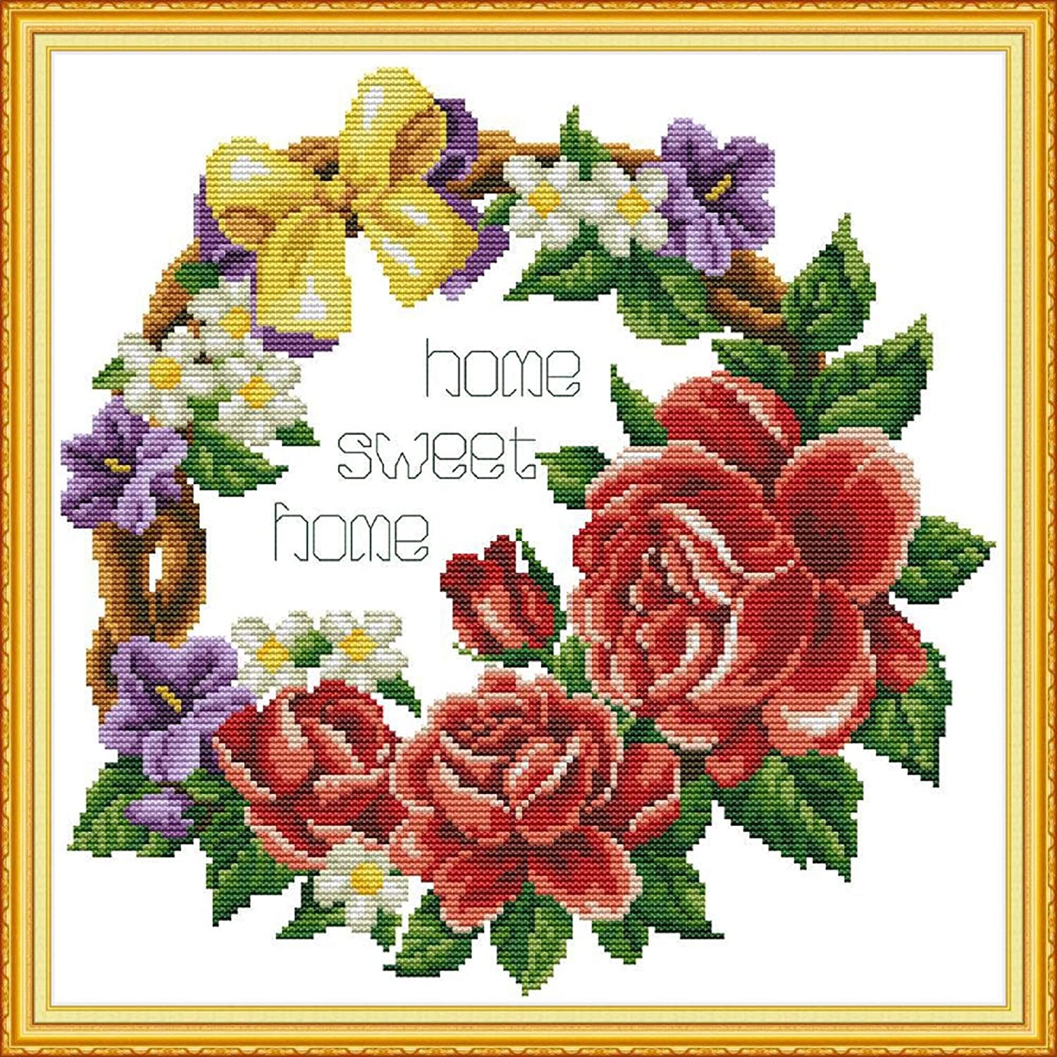 Funchey Stamped Cross Stitch Kits Beginners Full Range of Embroidery Starter Kits for Adults Printed Cross Stitching DIY kit 11CT-Sweet Home (Ring) 17.3x17.3 inch
