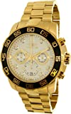Invicta 22229 Men's Pro Diver Quartz Chronograph Silver Dial Yellow Gold Steel Bracelet Watch