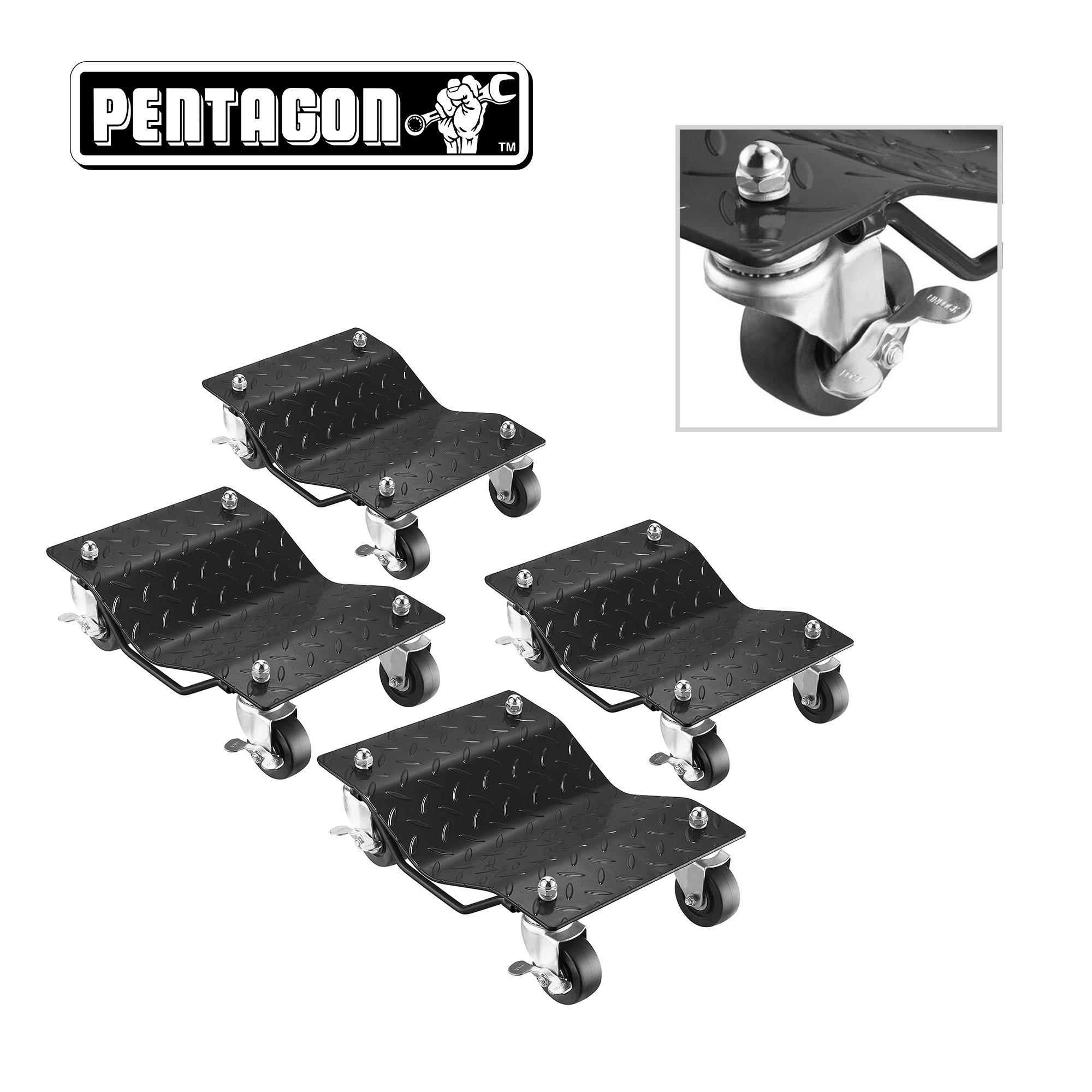 Pentagon Tool | Premium 4-Pack | Car Tire Dolly - Tire Skates | 1,500 lbs Rating | Black by Pentagon