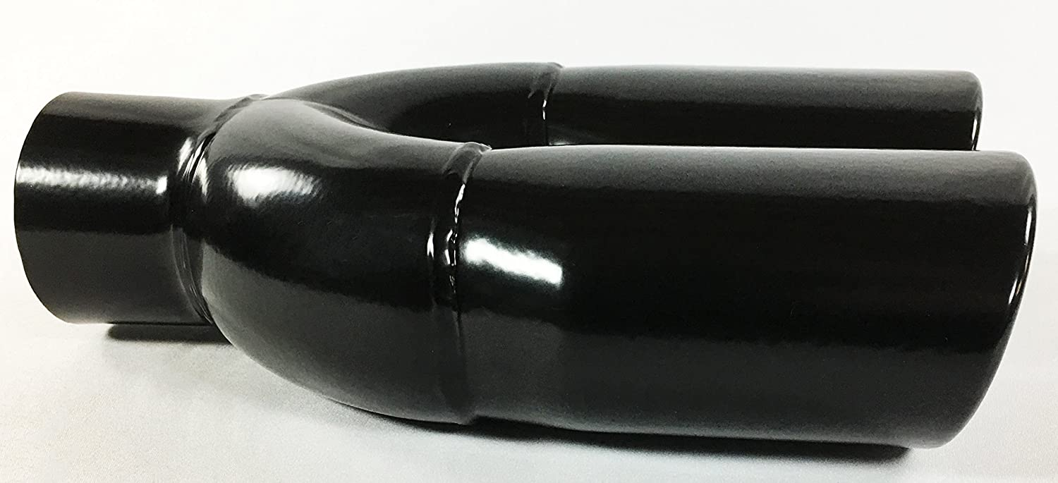 Exhaust Tip 2.25 Inlet 3.00 X 2.50 Outlet 8.50 long Dual Oval Slant Black Stainless Steel WDO350309-225-BK-SS Wesdon Exhaust Tip