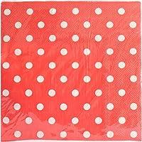 Partyforte Polka Dot Paper Napkins 33x33cm, 20 Count, Red