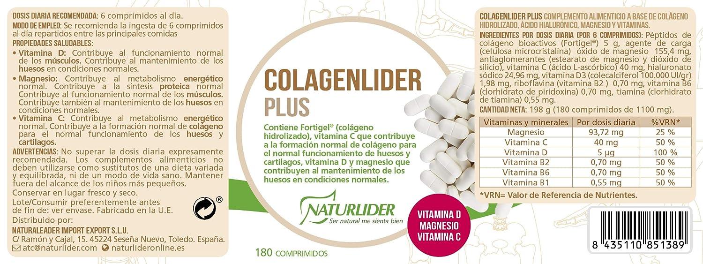 Naturlider Colagenlider Colágeno Hidrolizado FORTIGEL con vitamina C, D y magnesio- 180 Comprimidos: Amazon.es: Salud y cuidado personal