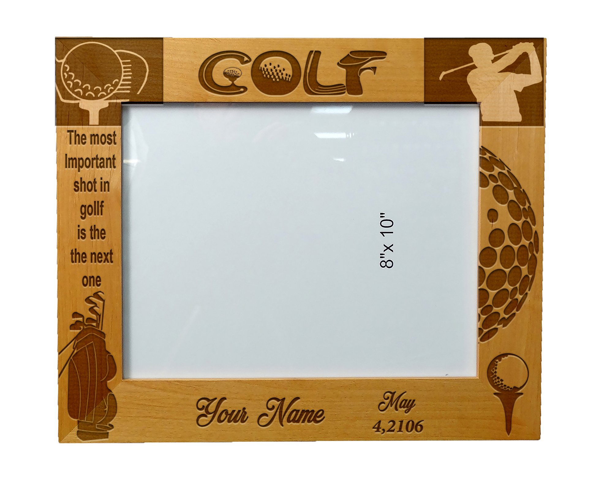Personalized Laser Engraved Wooden Picture Frame 8'' x 10''Golfer Design by PRANA