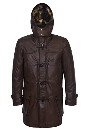 d90e06fa85ae Smart Range New 8294 Men's Hooded Coat Knee Length Brown Real Soft NAPA  Lambskin Leather (