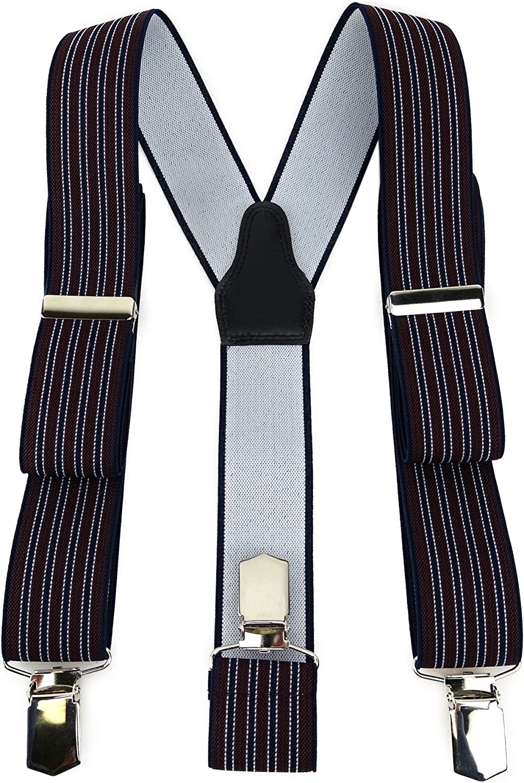 TigerTie - Tirantes - Rayas - para hombre Bordeaux Dunkelblau Silber Talla única: Amazon.es: Ropa y accesorios