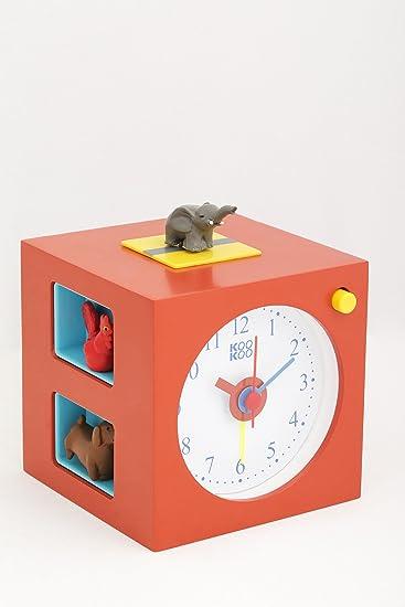 Großartig KOOKOO KidsAlarm Rot Wecker Für Kinder Mit 5 Magnettierchen Und 5  Tierstimmen Kinderwecker Holz Wecker Naturaufnahmen