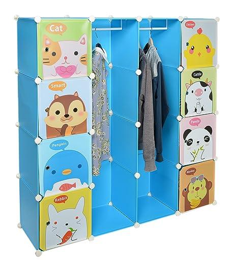 Armario estantería para la ropa, perchero para el pasillo, para niños, Ropero Aparador Estante en azúl con motivos de animales
