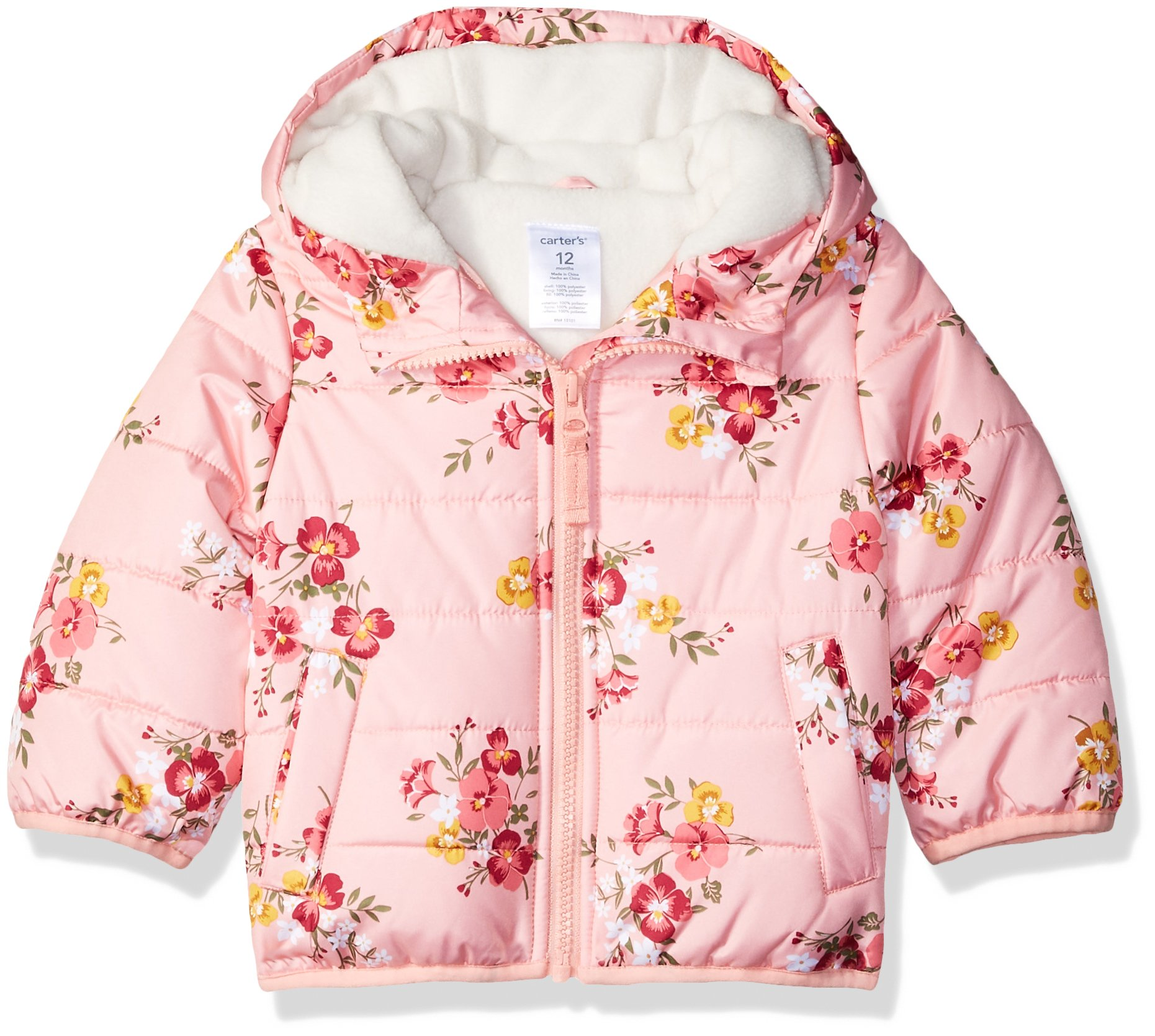 Carter's Baby Girls Fleece Lined Puffer Jacket Coat, Floral, 18M