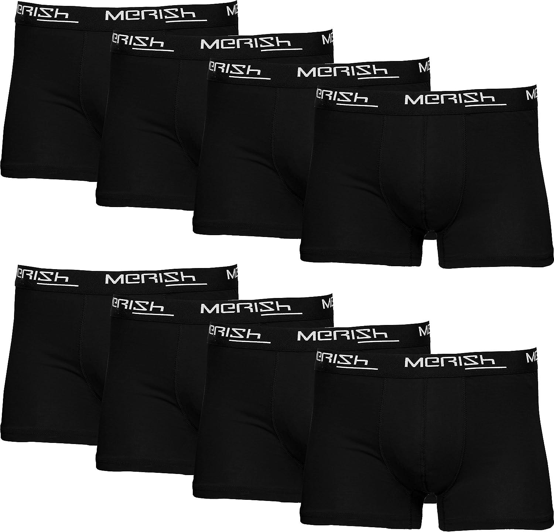 MERISH Bóxer Hombre Pack de 8 Multicolor Algodon Calzoncillos Hombres Boxers 217