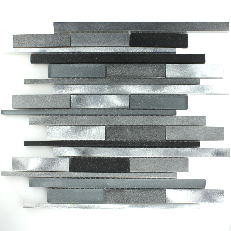 Aluminium Alu Glas Design Mosaik Fliesen Schwarz Silber Stick - Günstig mosaik fliesen kaufen