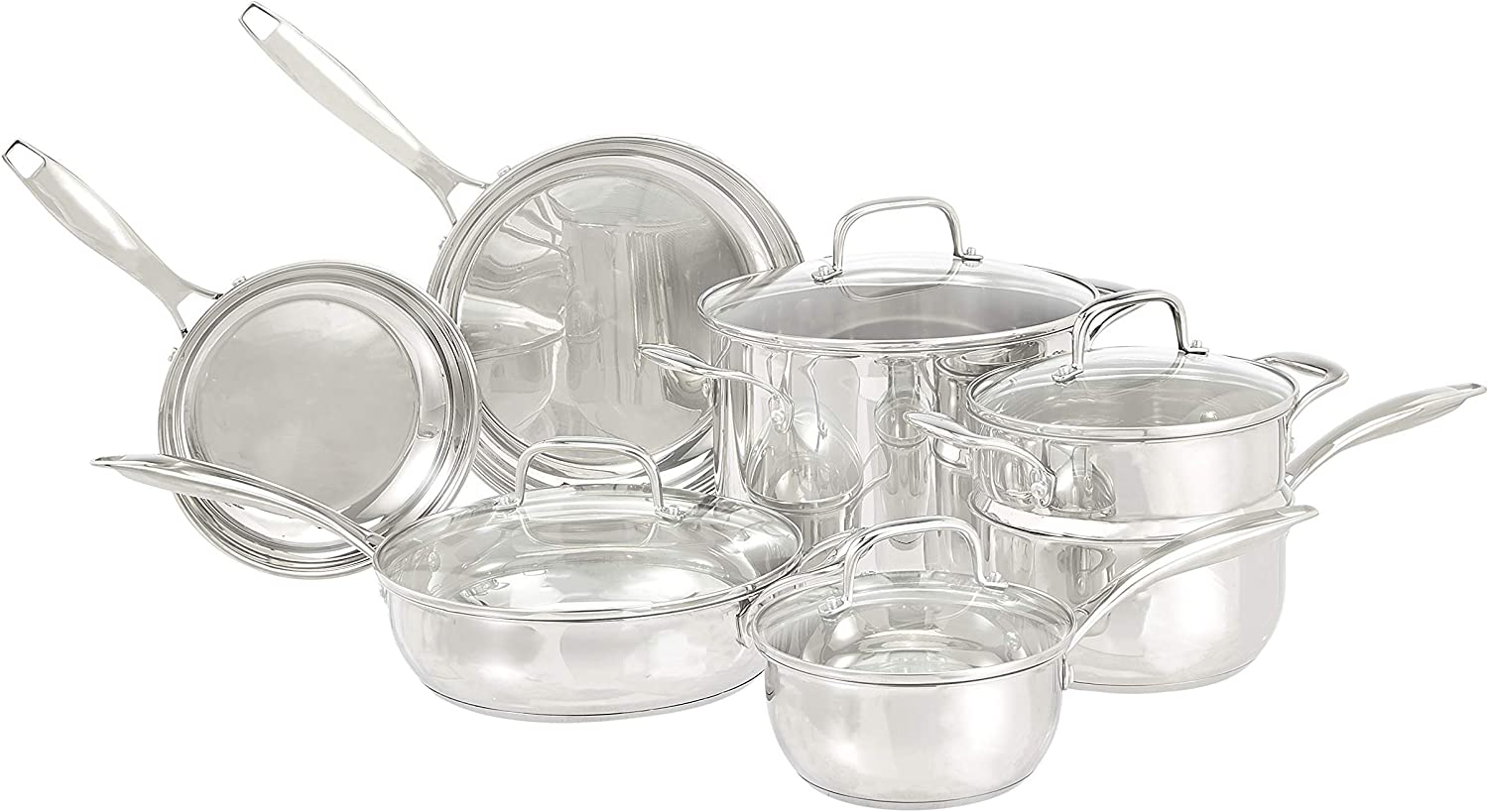 AmazonBasics Stainless Steel 11-Piece Cookware Set – Pots and Pans