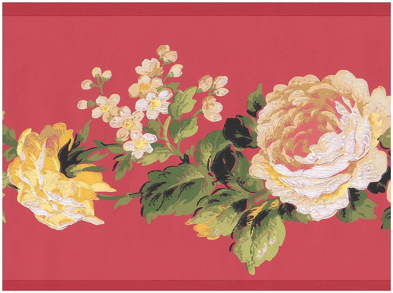 White Yellow Flowers On Vine Red Floral Wallpaper Border Retro