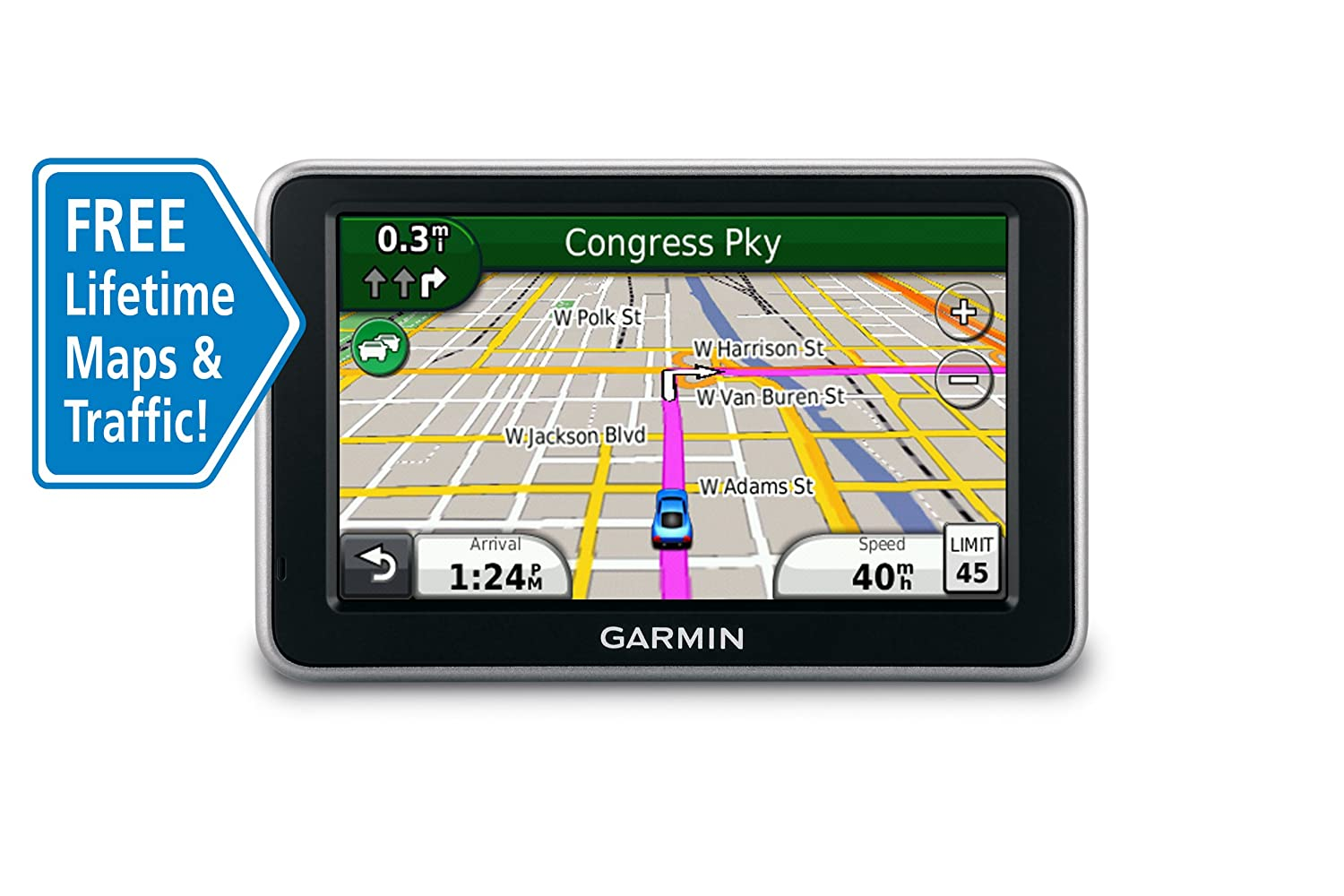 Amazon com garmin n vi 2350lmt 4 3 inch widescreen portable gps navigator with lifetime traffic map updates discontinued by manufacturer home audio