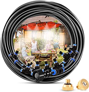 Outdoor Misting System, 50 FT Misting Hose + 18 Mist Nozzles, Misters for Outside Patio Producing Cool Mist in Greenhouse, Garden, Pool, Trampoline, Canopy and Porch Mister Cooling System Kit