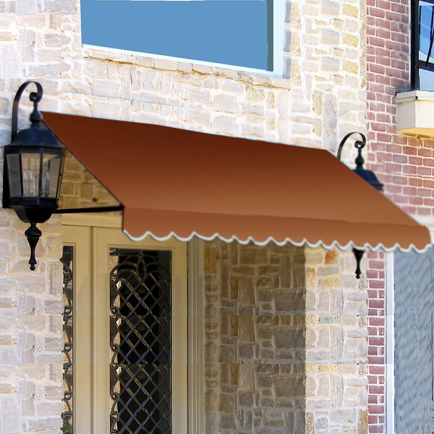 31 by 24-Inch Gray//White Awntech 4-Feet Dallas Retro Window//Entry Awning