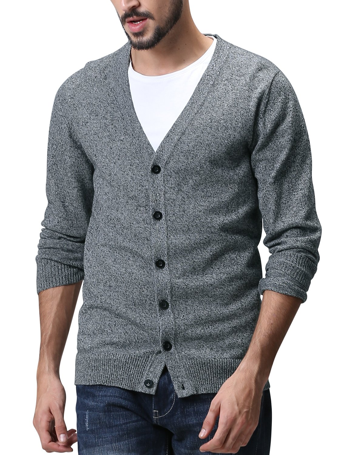 Match Men's Sweater Series V-Neck Button Up Cardigan #Z1522(US M (Tag size XL),Z1522 Medium heather gray)