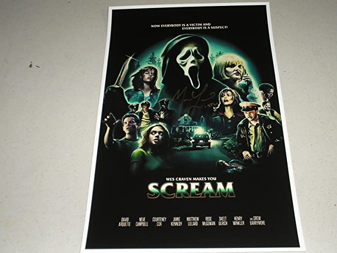 matthew lillard signed scream 11x17 movie poster ghostface autograph