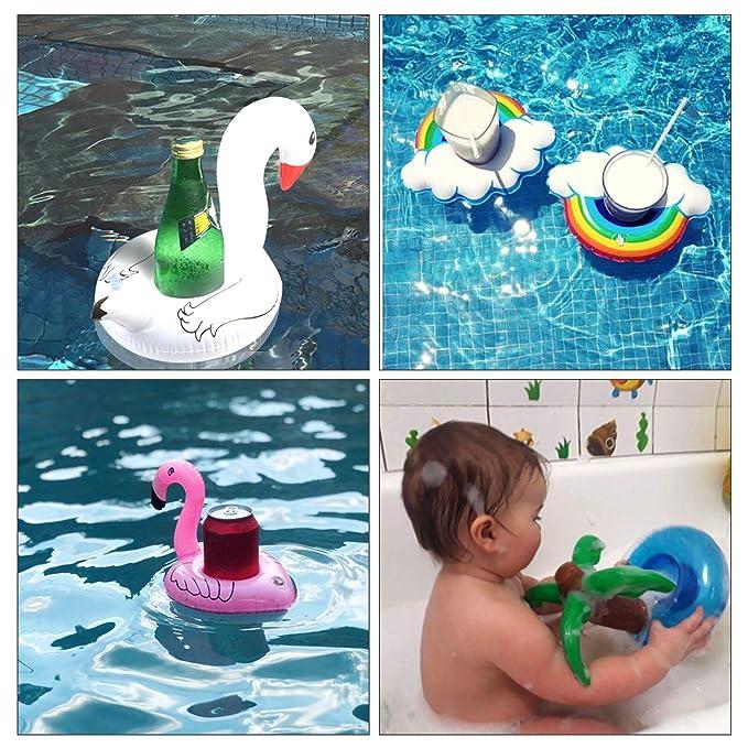 ZERHOK Flotador inflables 16pcs Flotador portavasos de Mini Inflable Hinchable Bebida en Piscina de Fiesta Hawai