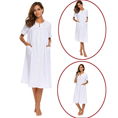Acecor Striped Nightgown Womens Cotton Short Sleeve Button Nightdress House Dress with Pockets