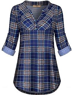 49b8db25dfd4 Miusey Womens Mandarin Collar Plaid Roll Sleeve V Neck Flowy Loose Tunic  Blouse