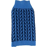 PET LIFE 'Harmonious' Dual Color Weaved Heavy Cable Knitted Fashion Designer Pet Dog Sweater, Medium, Aqua Blue and Dark Blue