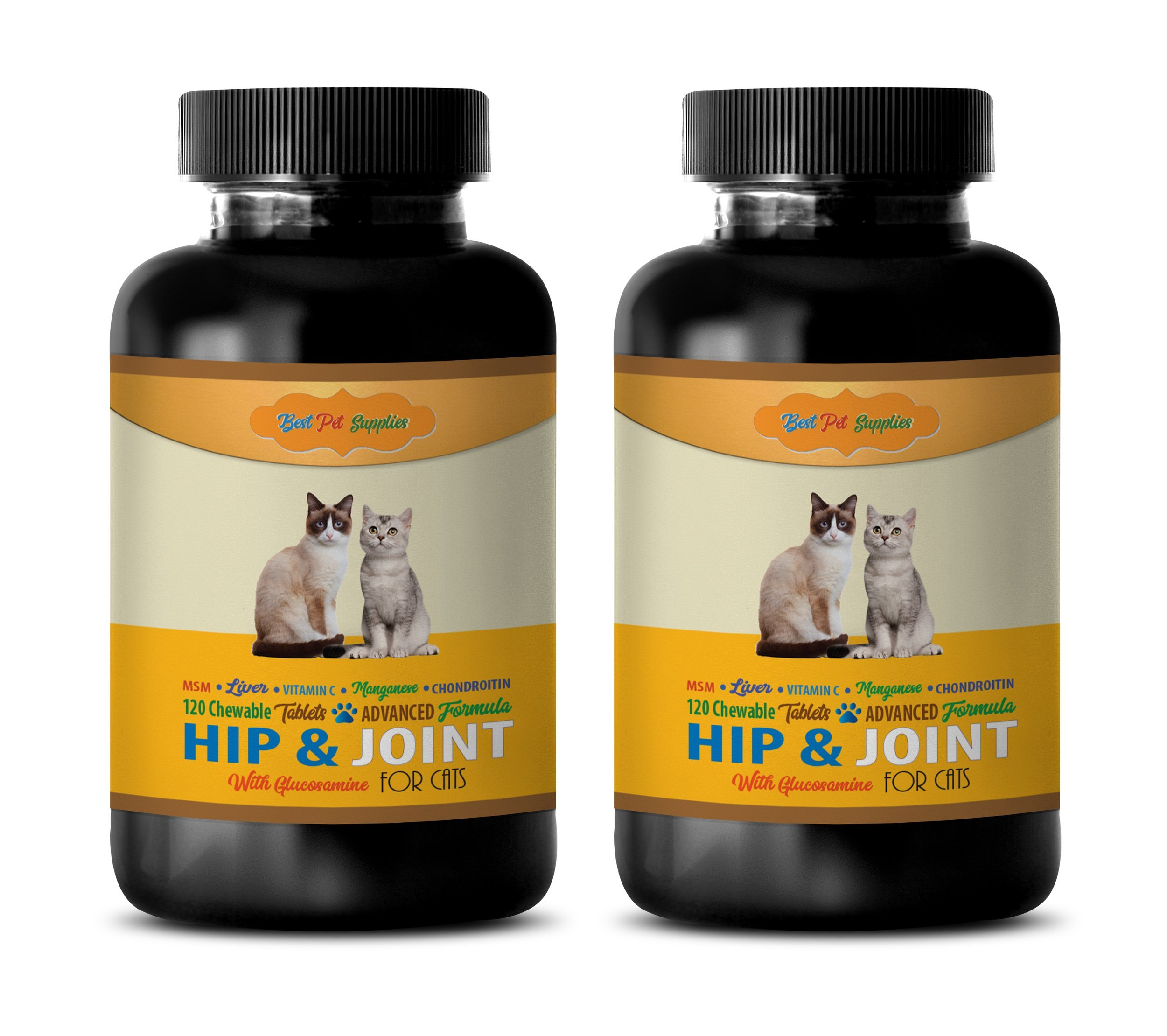 BEST PET SUPPLIES LLC cat hip and joint pain relief - PREMIUM HIP AND JOINT SUPPORT - CATS HEALTH - MOBILITY SUPPORT - cat vitamins treats - 240 Chews (2 Bottle)
