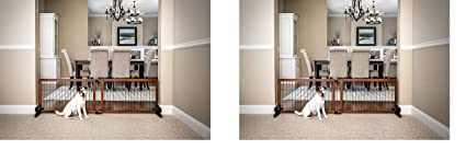 Wooden Pet Gate Free Standing Adjustable Up to 68 inches Wide