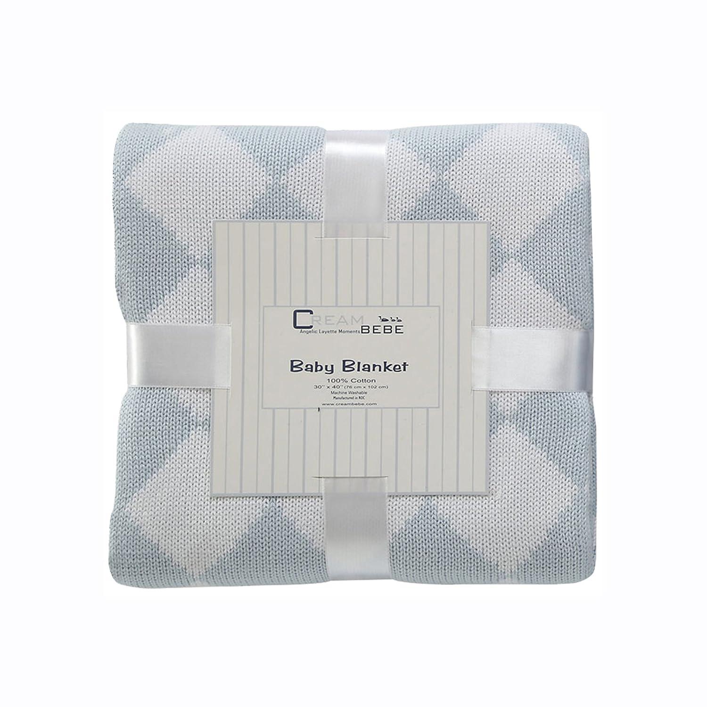 Cream Bebe Argyle 100% Cotton Knit Baby Blanket, Blue/White by Cream Bebe   B00NIBKO5O