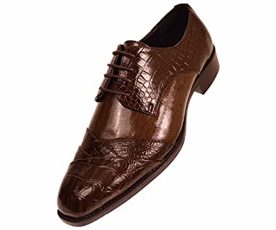 0c198b97bb04 Bolano Mens Exotic Faux Crocodile and EEL Print Folded Cap Toe Oxford Dress  Shoes