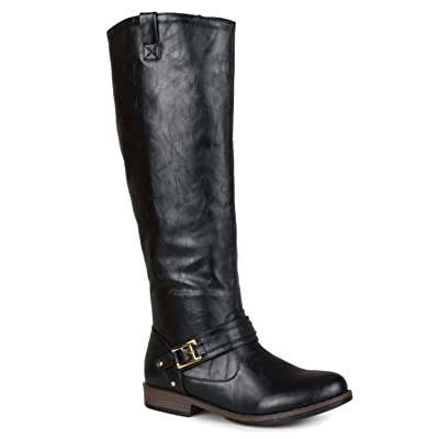 Journee Collection Womens Regular Sized and Wide-Calf Ankle-Strap Square-Buckle Riding Boot