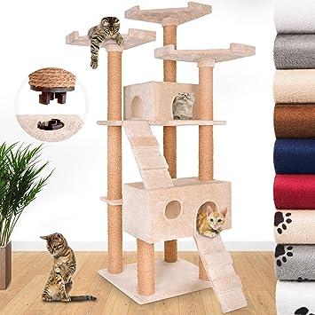 Leopet - Arbol rascador para gatos de altura 171.5 cm - 2 cuevas y 3 plataformas y 2 escaleras - Beis - color a elegir: Amazon.es: Hogar