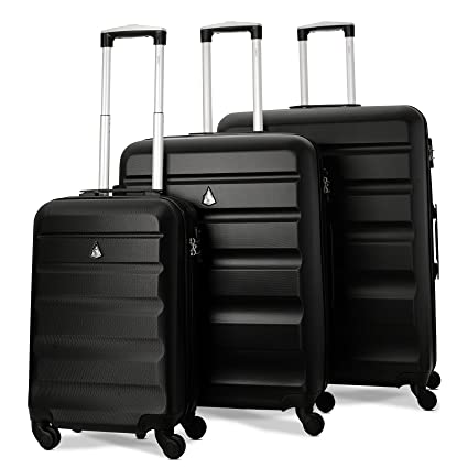 8ef3dfc19d93 Aerolite Lightweight 4 Wheel ABS Hard Shell 3 Piece Luggage Suitcases Set,  21