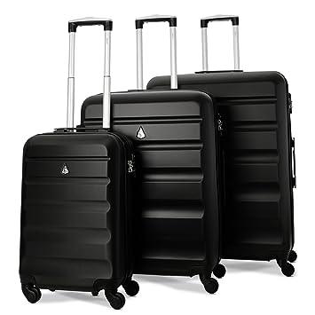 grossiste 3bb18 55112 Aerolite Set de 3 Valises Rigides Légeres à 4 roulettes avec Serrure TSA  Intégré, 55cm Bagage Cabine + 69cm + 79cm Noir